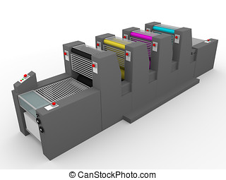 printing press - A commercial printing press with four...