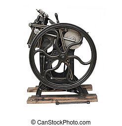 printing press - a black 1901 printing press with gold trim,...