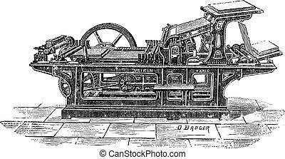 Printing press with one cylinder vintage engraving