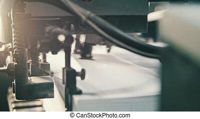 Printing process - sheets of paper - CMYK, close up,...