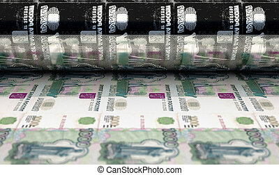 Printing Russian Ruble Notes - A concept image showing a ...