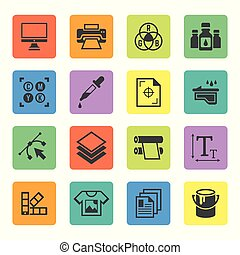 Printing service vector squre colored icons - Printing set ...