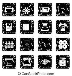 Printing set icons, grunge style