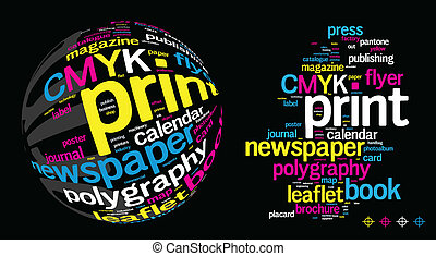 Printing Word Cloud concept illustration on black