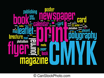 Printing Word Cloud concept illustration on black