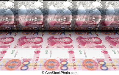 Printing Yuan Renminbi Notes - A concept image showing a ...