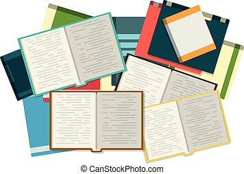 PrintOpen books with piles of books on the background.