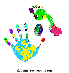 Prints of a foot, hand and finger on a white background. Vector