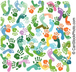 prints of feet and hands vector