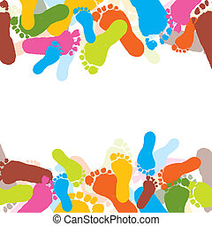 Abstract background, prints of foots of the child, vector illustration