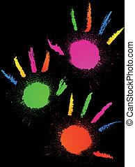 Prints of grunge hands. Vector
