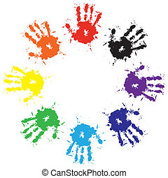 Print of hand from ink colorful splash. Vector grunge illustration of hand of child, cute teamwork background