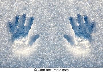 Prints of hands on snow, a matrix