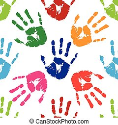 Prints of hands, seamless pattern