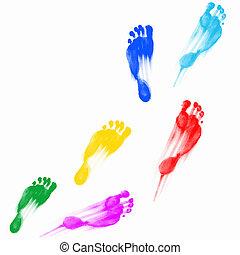 Prints of human feet