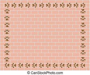 Prints paw frame on brick wall