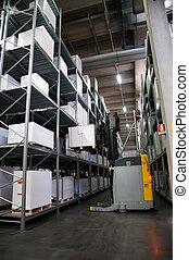 printshop:, automatizált, raktárépület, (for, paper)