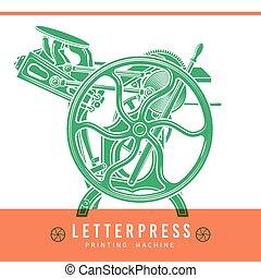printshop, vettore, vecchio, illustration., letterpress, vendemmia, macchina, stampa, overprint, logo., design.