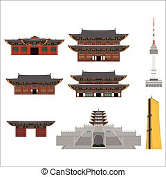 PrintSouth Korea country design flat cartoon elements. Travel landmark, Seoul tourism place. World vacation travel city sightseeing Asia building collection. Asian architecture isolated