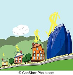 PrintThe concept of growth in housing prices, vector illustration