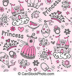 prinzessin, tiara, doodles, muster