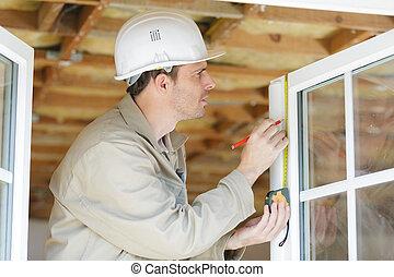 prior, medición, hombre, ventana, instalación