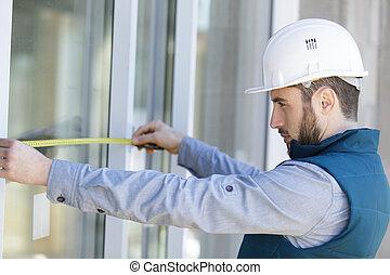 prior, obturador, ventana, hombre, rodillo, medición, ...