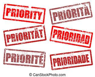 prioridad, sellos, conjunto