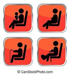 priorità, bottoni, sedere, set