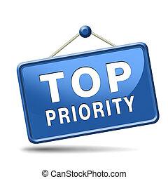 priorità, cima