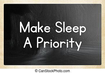 priorität, machen, schlaf