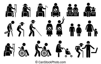 priorität, need., sitze, seatings, leute