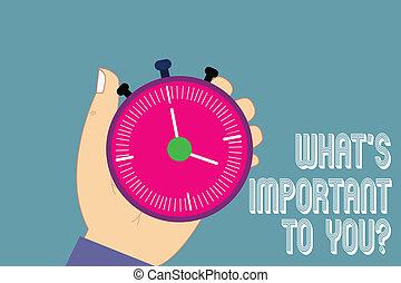 priorities, 写真, 分析, あなたの, 何か, 私達, 目的, 執筆, メモ, 始めなさい, 保有物, 言いなさい, ビジネス, 止まれ, 提示, 腕時計, 手, 重要, ゴール, 胡, button., タイマー, s, showcasing, youquestion.