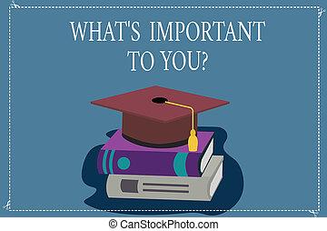 priorities, 概念, 色, テキスト, 卒業, あなたの, 何か, 目的, 執筆, 写真, 帽子, 言いなさい, 3d, 休む, ビジネス, 重要, ゴール, ふさ, 単語, books., 帽子, 私達, 学者, s, youquestion.