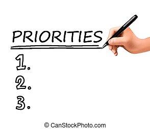priorities, 3d, mano, lista, escrito
