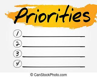 Priorities Blank List, vector concept background