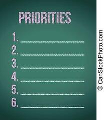 priorities chalkboard list illustration