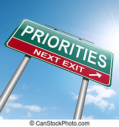 Priorities concept. - Illustration depicting a roadsign with...