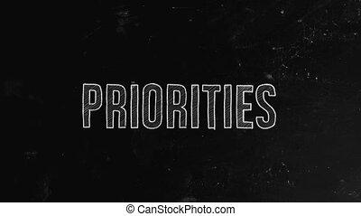 Priorities concept written on blackboard