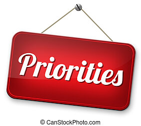 priorities important very high urgency highest importance ...