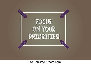 priorities., pokaz, skwer, dokumentowany, szkic, spoinowanie, farbować fotografię, ustalać, strzały, ognisko, znak, tło., ważny, tekst, inwards, rzeczy, konceptualny, róg, twój, plan