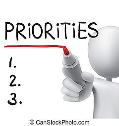 priorities, uomo, 3d, parola, scritto
