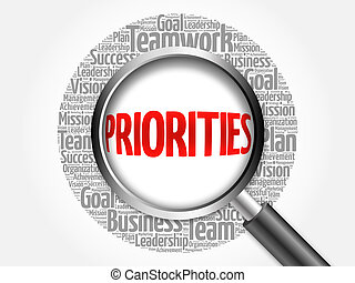 PRIORITIES word cloud with magnifying glass, business ...
