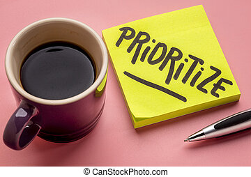prioritize advice or reminder on sticky note
