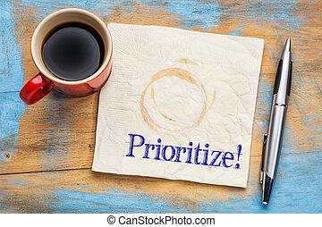 prioritize, -, lembrete, ligado, um, guardanapo