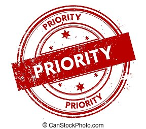 PRIORITY distressed red stamp.