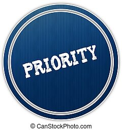 PRIORITY distressed text on blue round badge.