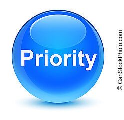 Priority glassy cyan blue round button