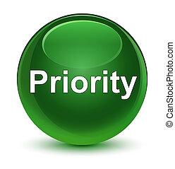 Priority glassy soft green round button
