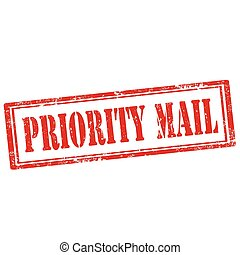 Priority Mail-stamp - Grunge rubber stamp with text Priority...